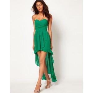 TFNC high-low green dress